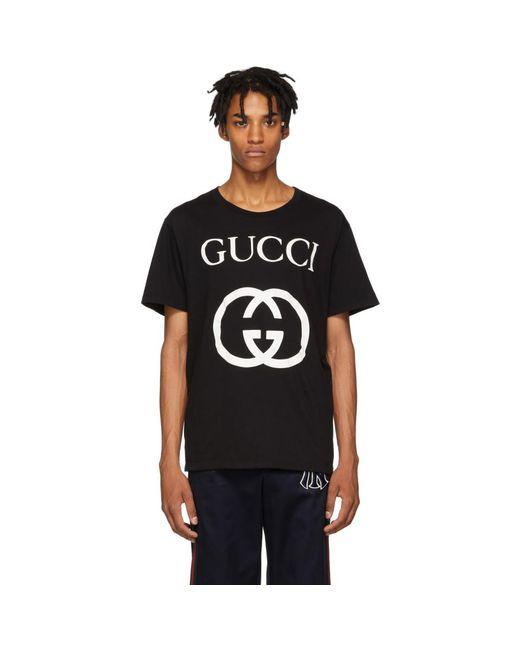 メンズ Gucci ブラック GG ロゴ T シャツ Black