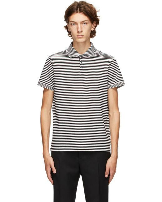 メンズ Saint Laurent ブラック & ホワイト ストライプ ポロシャツ Black