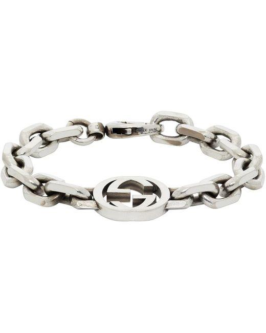 Gucci シルバー Interlocking G ブレスレット Metallic