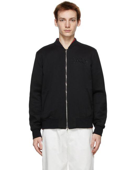 メンズ Alexander McQueen ブラック ロゴ ボンバー ジャケット Black