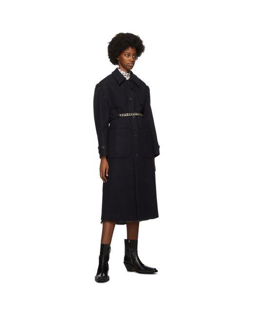 ROKH ネイビー ウール リブーバブル スリーブ コート Blue