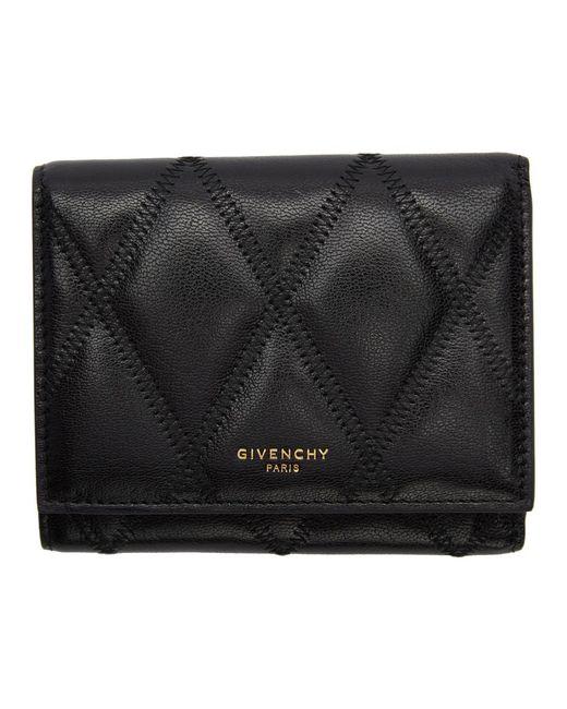 Givenchy ブラック ダイアモンド キルティング トライフォールド ウォレット Black