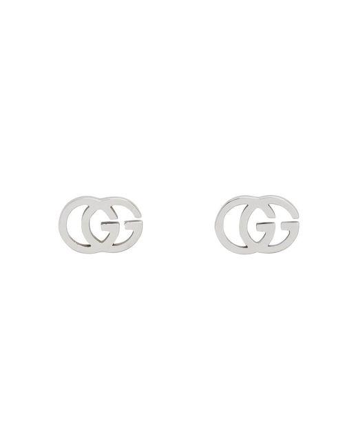 Gucci ホワイト ゴールド GG ティシュ スタッド ピアス Metallic