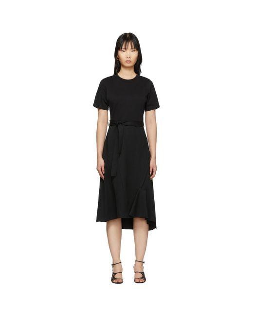 3.1 Phillip Lim ブラック ウール コンボ T シャツ ドレス Black