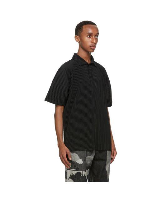 メンズ Homme Plissé Issey Miyake ブラック プリーツ ポロシャツ Black