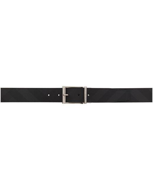 メンズ Burberry リバーシブル ブラック And グレー チェック ベルト Black