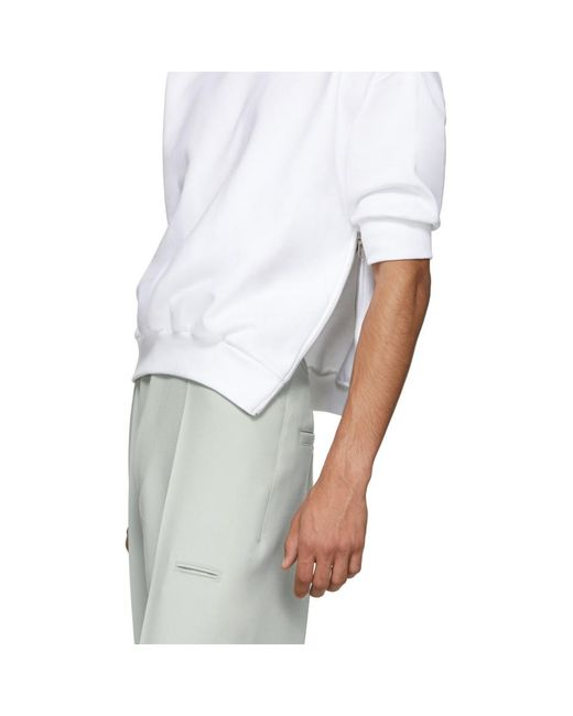 メンズ Random Identities ホワイト サイド ジップ スウェットシャツ White