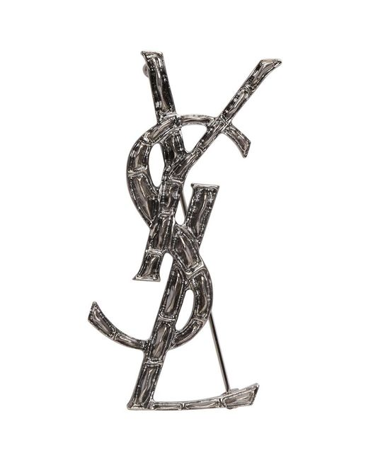 Saint Laurent - Metallic Silver Croc Opyum Brooch - Lyst