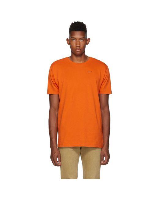 メンズ Off-White c/o Virgil Abloh オレンジ And ブラック ロゴ T シャツ Orange