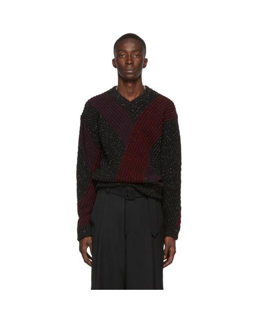 メンズ Lemaire マルチカラー ジャカード V ネック セーター Black