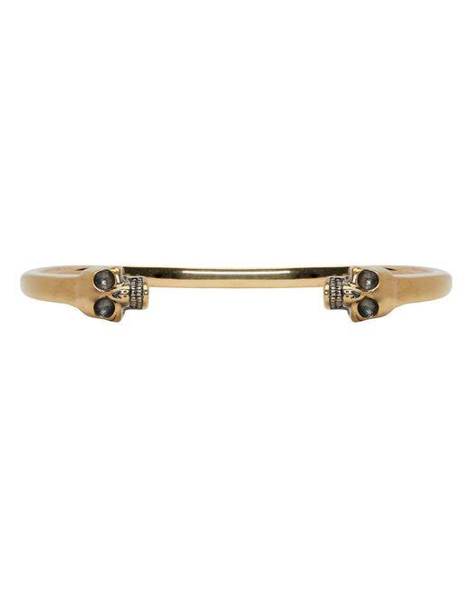 Alexander McQueen - Metallic Gold Twin Skull Bracelet for Men - Lyst