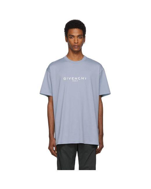 メンズ Givenchy ブルー オーバサイズ Paris ビンテージ T シャツ Blue