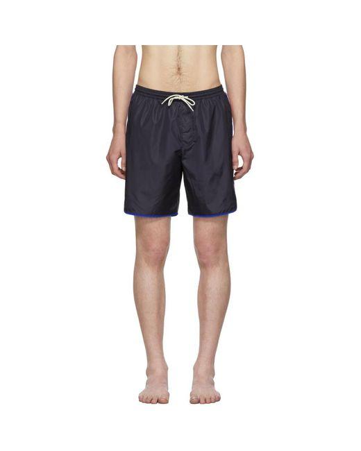 Maillot de bain bleu marine Logo Stripe Gucci pour homme en coloris Blue