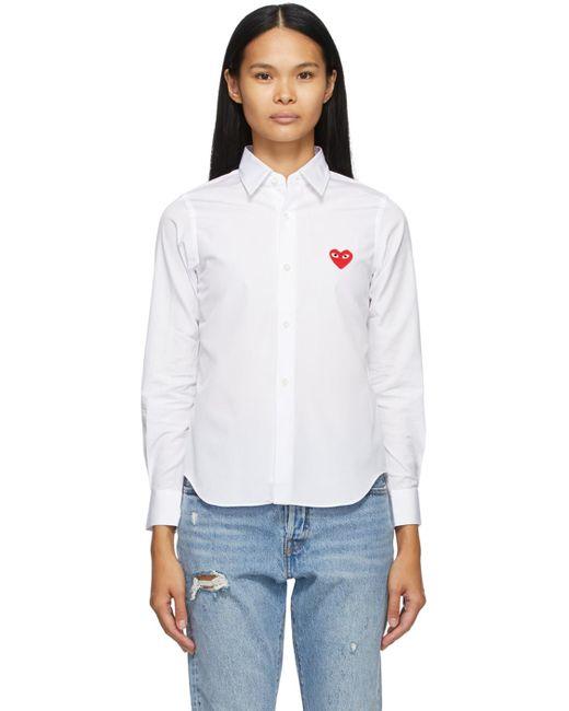 COMME DES GARÇONS PLAY ホワイト Heart Patch シャツ White