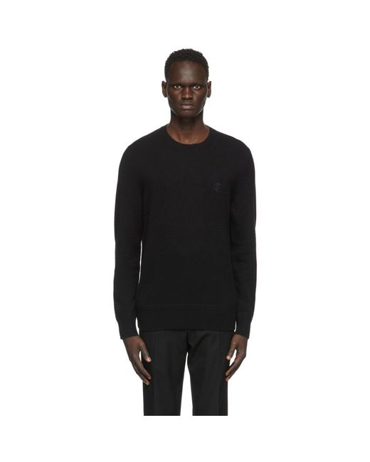 メンズ Burberry ブラック カシミア モノグラム モチーフ セーター Black