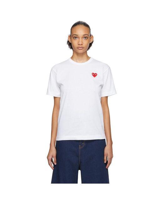 COMME DES GARÇONS PLAY ホワイト And レッド メンズ フィット ハート パッチ T シャツ White