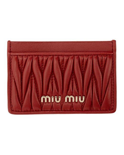 Miu Miu レッド マテラッセ カード ホルダー Red