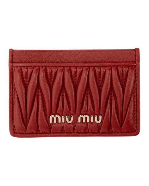 Miu Miu Red Matelasse Card Holder