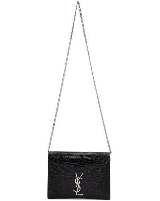Saint Laurent ブラック クロコ カサンドラ チェーン ウォレット バッグ Black