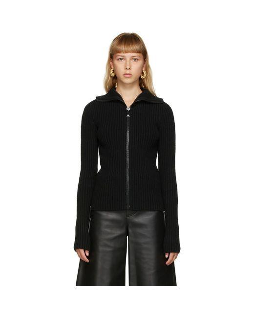 Bottega Veneta ブラック ニット ジップアップ セーター Black