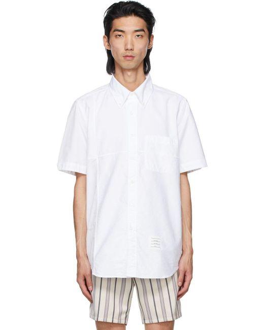 メンズ Thom Browne ホワイト ショート スリーブ シャツ White