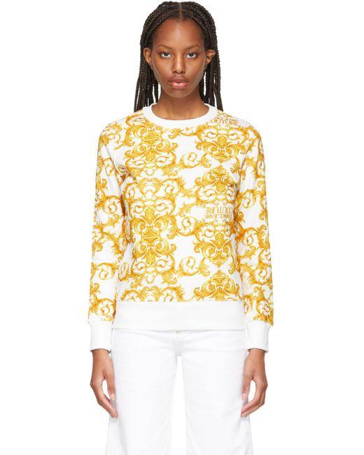 Versace Jeans ホワイト & イエロー Baroque スウェットシャツ Yellow