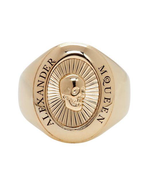 Alexander McQueen - Metallic Gold Skull Medallion Ring for Men - Lyst