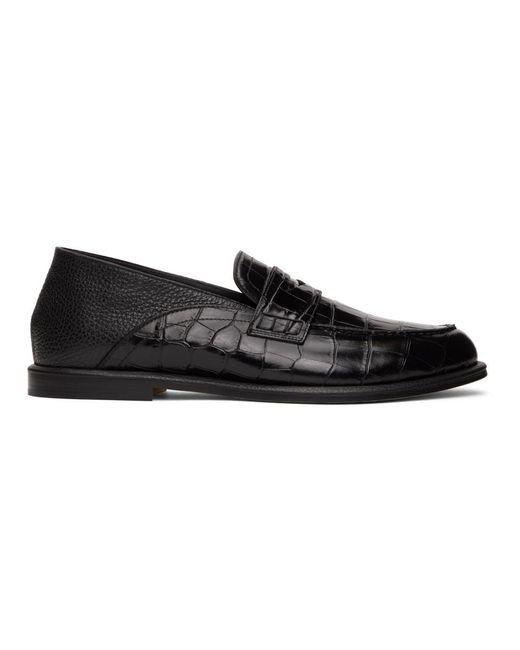 メンズ Loewe ブラック クロコエンボス Slip On ローファー Black