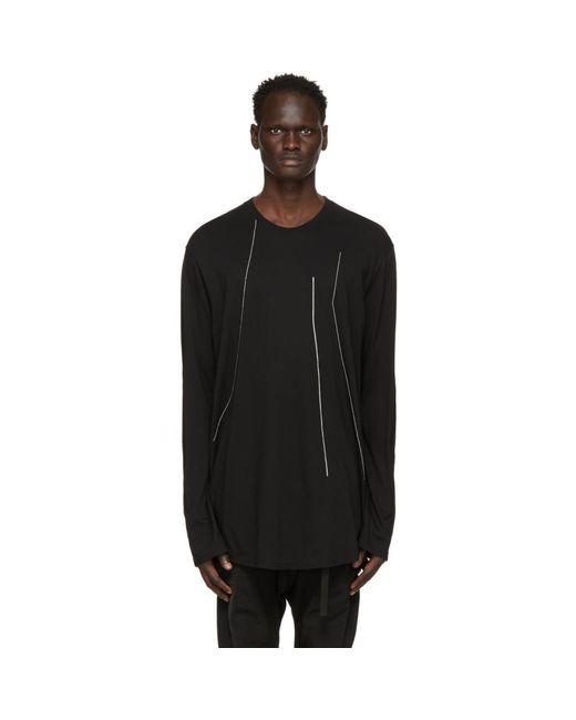 メンズ Julius ブラック Embroidered ロング スリーブ T シャツ Black