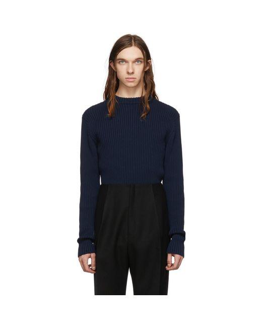 メンズ Bottega Veneta ネイビー コットン セーター Blue