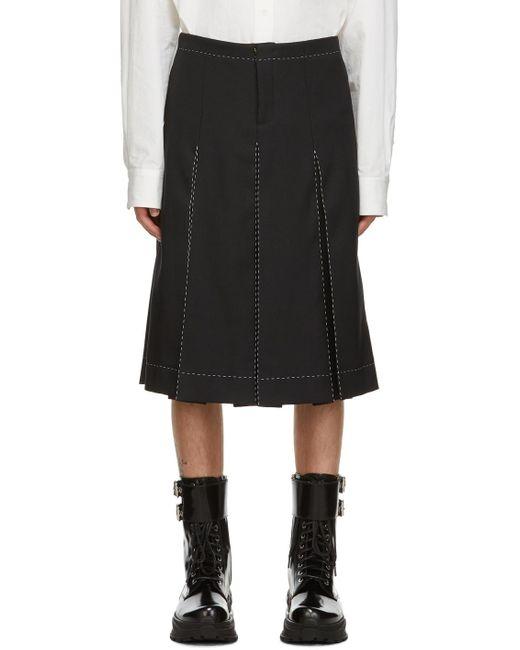 メンズ Maison Margiela ブラック コントラスト ステッチ ショーツ Black