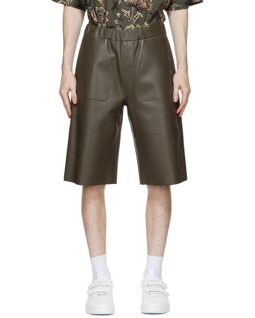 メンズ Givenchy カーキ レザー Bonded Bermuda ショーツ Multicolor