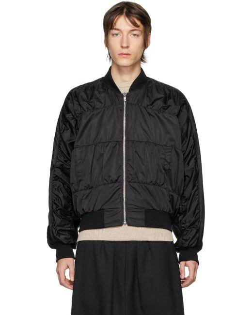 Random Identities Black Signature Bomber Jacket for men