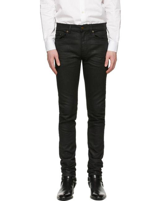 メンズ Saint Laurent ブラック コーティング スキニーフィット ジーンズ Black