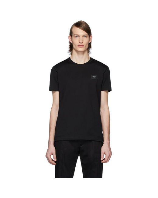 メンズ Dolce & Gabbana ブラック エッセンシャル ロゴ パッチ T シャツ Black