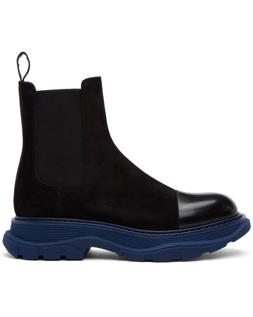 Alexander McQueen Ssense Exclusive Black & Blue Suede Chelsea Boots for men