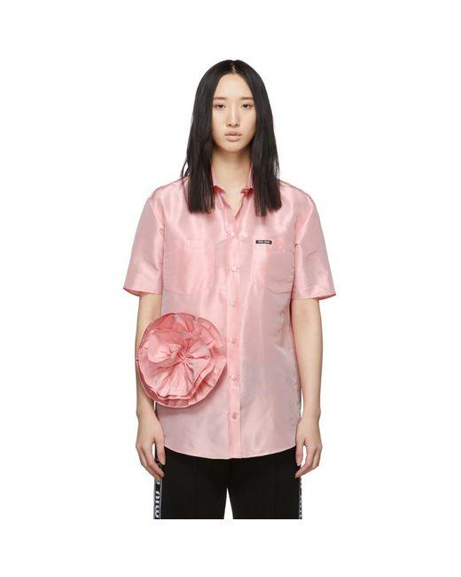 Miu Miu ピンク タフタ ローズ シャツ Pink