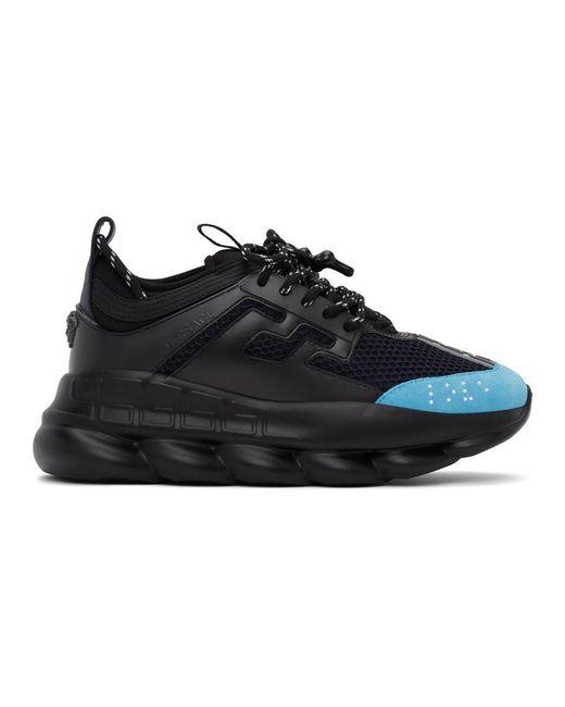 Baskets noires et bleues Chain Reaction Versace pour homme en coloris Black
