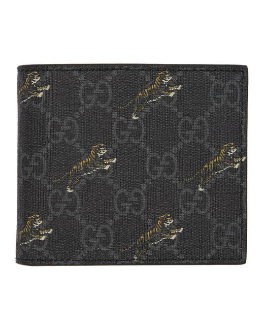 メンズ Gucci Gg タイガー コーティングキャンバス札入れ Black