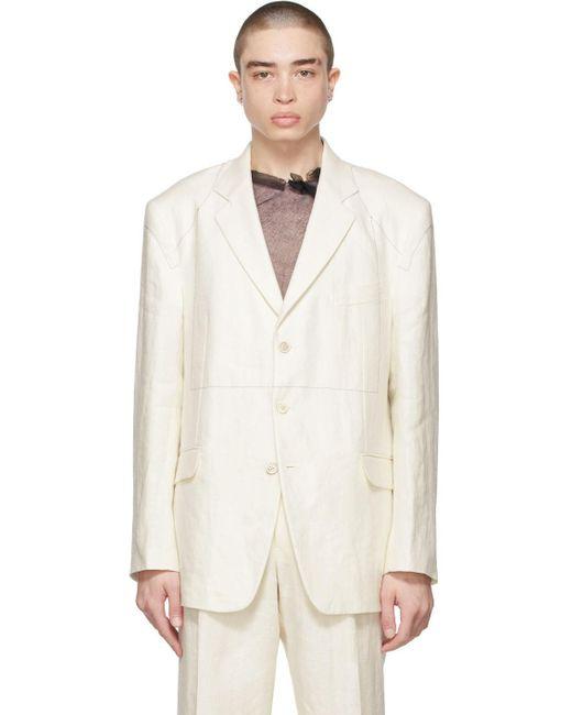 メンズ Maison Margiela オフホワイト ブレザー White