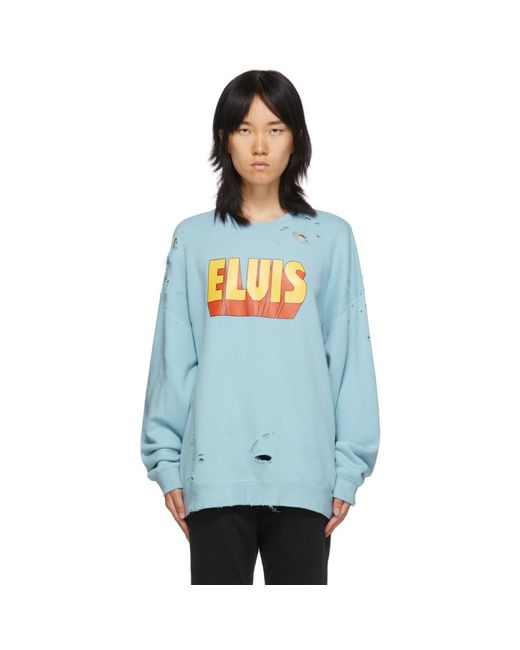 R13 ブルー Elvis ロゴ オーバーサイズ スウェットシャツ Blue