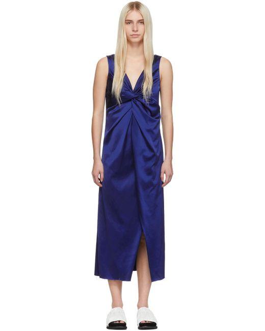 Marina Moscone ブルー V ネック ツイスト ドレス Blue