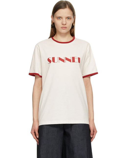 Sunnei ホワイト & レッド ロゴ T シャツ White