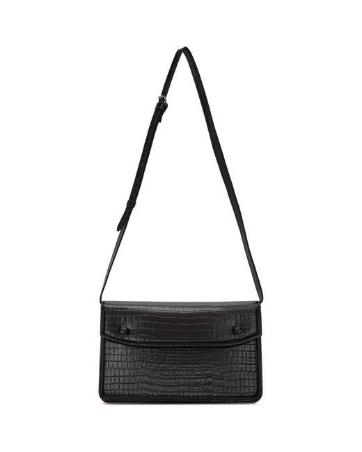 メンズ Maison Margiela ブラック クロコ アコーディオン メッセンジャー バッグ Black