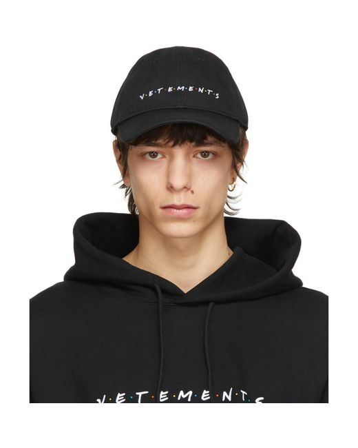 メンズ Vetements ブラック Friendly ロゴ キャップ Black