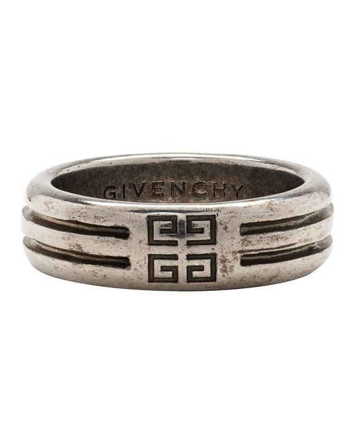 Givenchy Metallic Silver 4g Double Row Ring for men