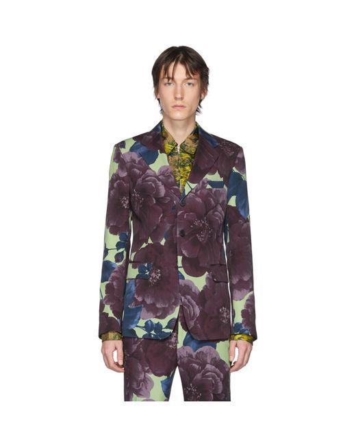 メンズ Dries Van Noten マルチカラー ウール フローラル ブレザー Purple