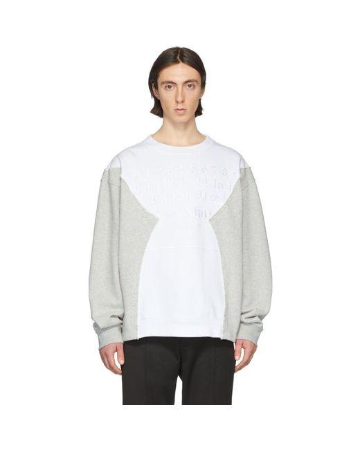 メンズ Maison Margiela ホワイト And グレー エンブロイダリー ロゴ スウェットシャツ White