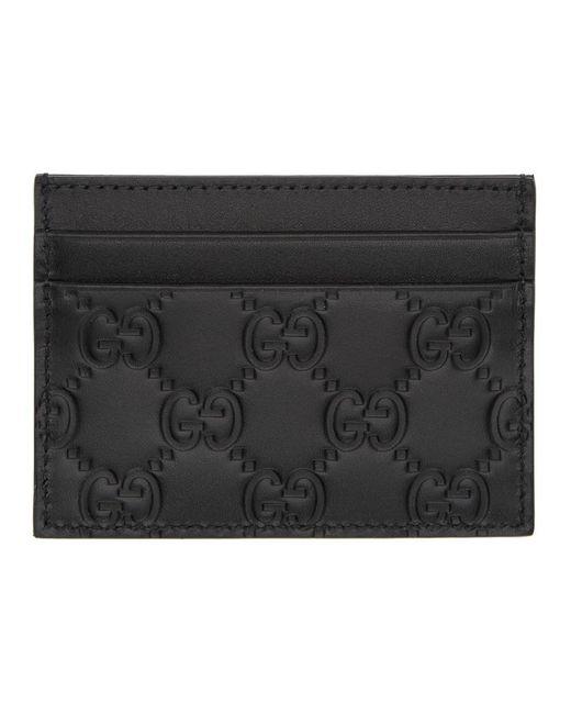 Gucci ブラック レザー GG カード ホルダー Black