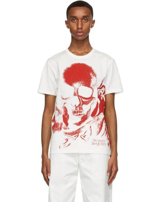 メンズ Alexander McQueen ホワイト & レッド スカル プリント T シャツ White
